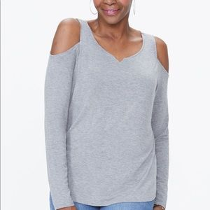 1 Gray, 1 Black Cold Shoulder Knit Tee